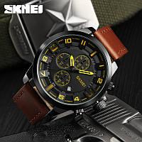 Skmei 1309 Классические мужские часы  коричневые с желтыми стрелками, фото 1