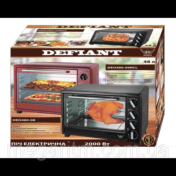 Пiч електрична Defiant  DEO480-09RCL 48 л; 2 кВт (конвекция, гриль, свет)