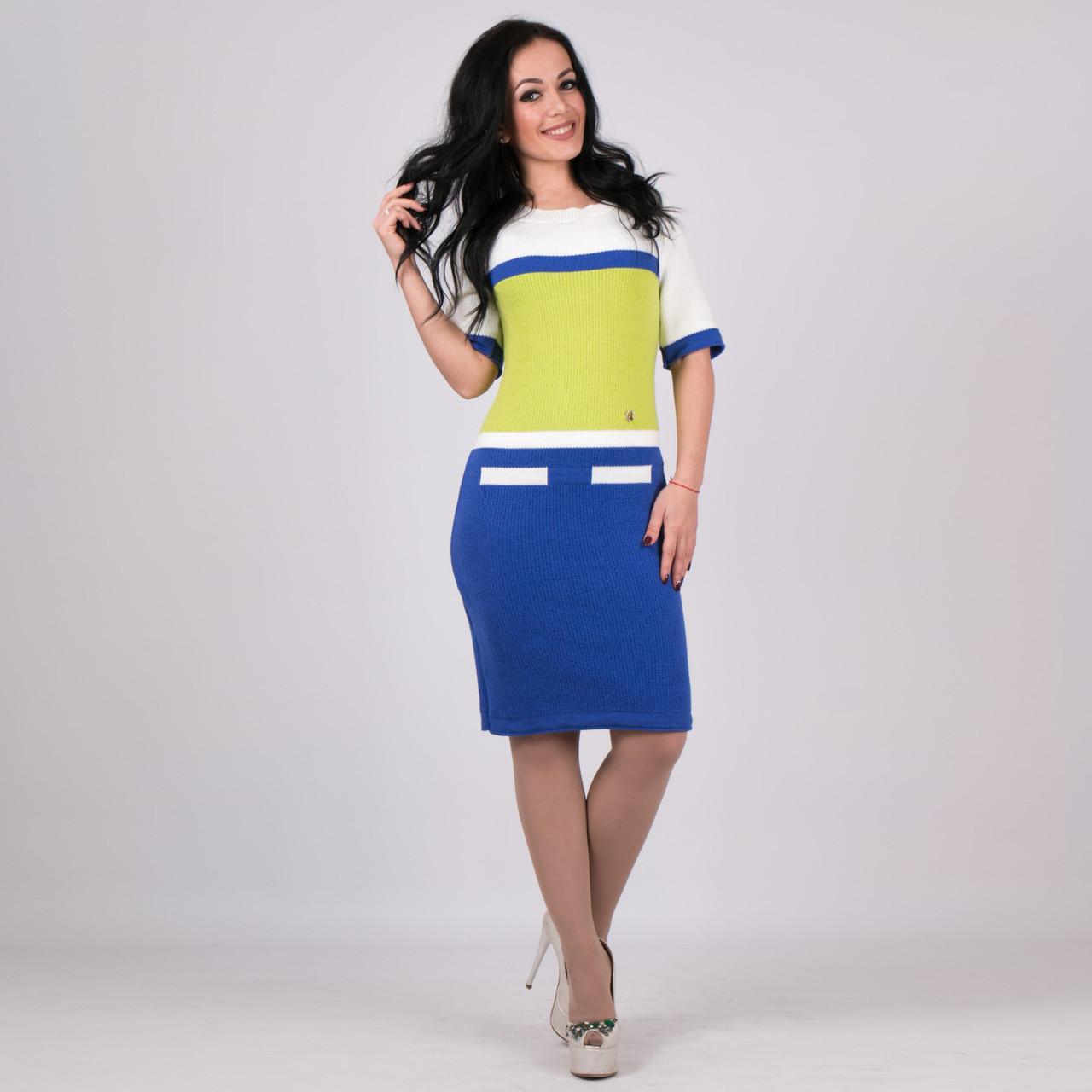 Трикотажное женское платье Карамелька синий с салатовым