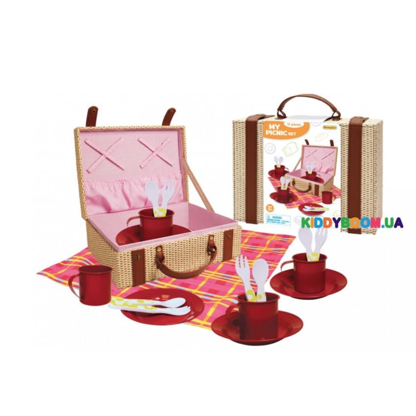 Набор посуды игровой для пикника Champion  в чемоданчике красный  CH22006