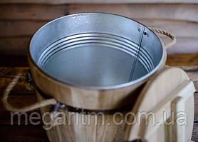 Запарник для веников дубовый 15 л. с металлической вставкой, фото 3