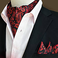 Шейный Bow Tie House платок Аскот красный с узором и платком-паше 09150 09150