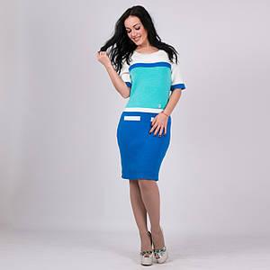 Трикотажное женские платье Карамелька василек-мята-молоко