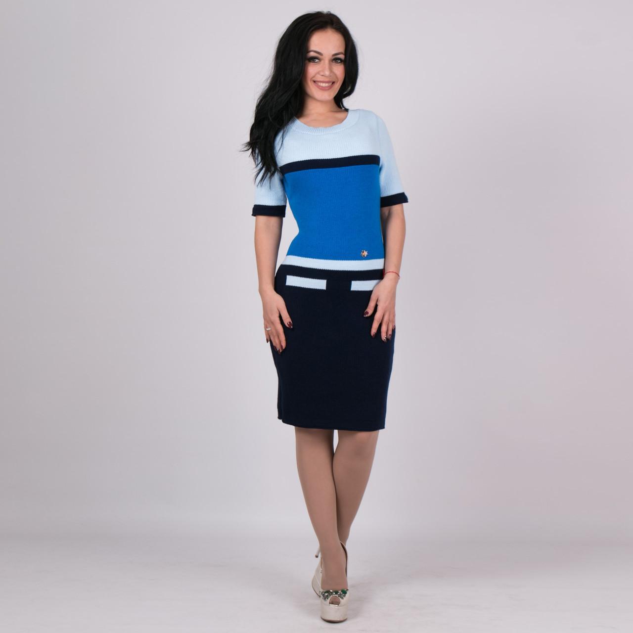 Трикотажное женское платье Карамелька синийс голубым