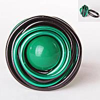 [18,19,20] Кольцо гнездо крученое круг зеленая бусина градиент
