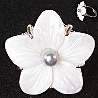 Кольцо без р-р крупный цветок серая бусина Перламутр резной