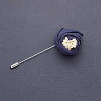 Брошь булавка цветок Пион из ткани синий L-8см d-40мм