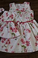 """Платье на маму и дочку """"Розовые цветочки"""" family look"""