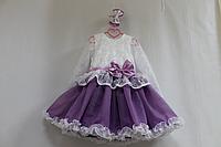 """Нарядное платье на девочку """"Бело-сиреневая радуга"""" с рукавами"""