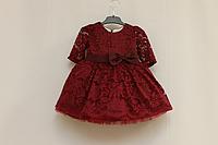 """Нарядное платье на девочку """"Бордовый гипюрчик""""., с рукавами"""