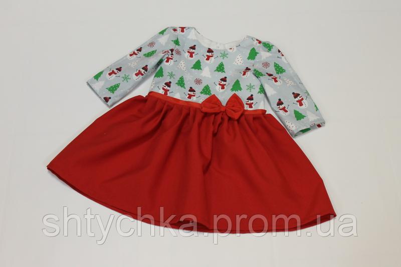 """Повседневно - нарядное новогоднее платье на девочку """"Зимний снеговичок"""""""