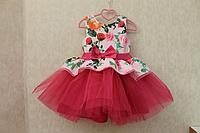 """Нарядное платье на девочку """"Гламурная радость"""" с малиновым низом"""
