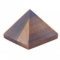 """Пирамида сувенир камень """"Тигровый глаз"""" h-2,4-2,6см b-2,7-2,9см"""