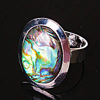 """Кольцо Халиотис гладкая оправа плоская """"М"""" овальный камень 2,2*1,7см без р-р"""