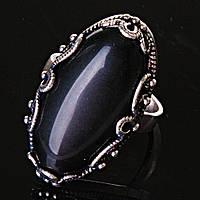 """Кольцо Агат оправа """"Ажур Маркиз"""" """" овальный камень 3,3*1,8см без р-р"""