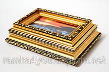 Шкатулка-фоторамка багетная золотая для фотографии 5х10