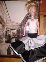 Одежда для Барби, платье черное с белым