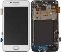 Дисплей (экран) для телефона Samsung Galaxy S2 I9100 + Touchscrееn with frame Original White