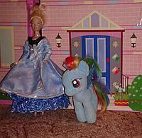 Одежда для куклы типа Барби, плащ голубой с серебром, Киев