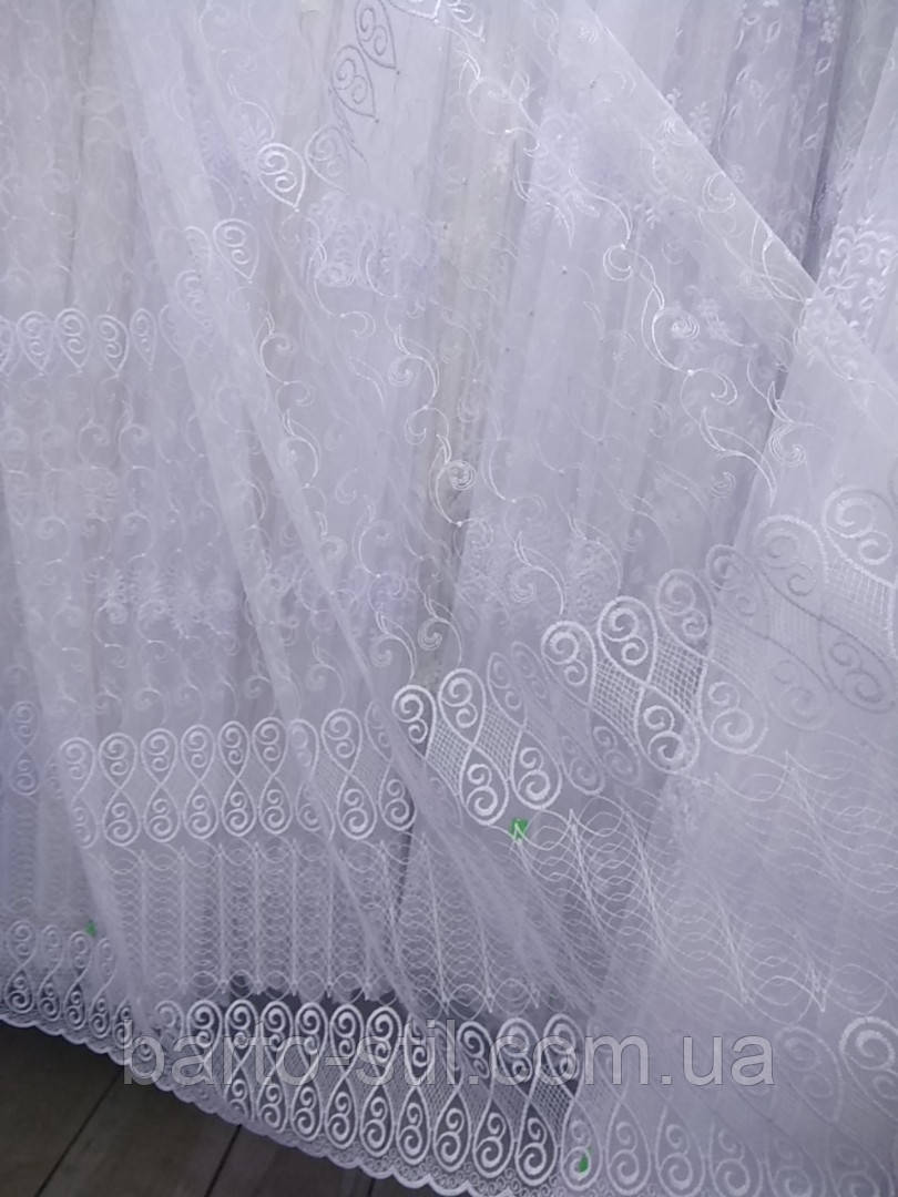 Красивая тюль с вышивкой на фатиновой основе. Оптом. Высота 2.8 м.