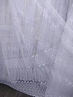 Красивая тюль с вышивкой на фатиновой основе. Оптом. Высота 2.8 м. , фото 1