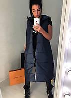 Удлиненная черная женская утепленная жилетка батал на молнии и по бокам. Арт-7412/80, фото 1