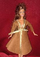 Одежда для куклы типа Барби, плащ  коричневый с серебром, Киев