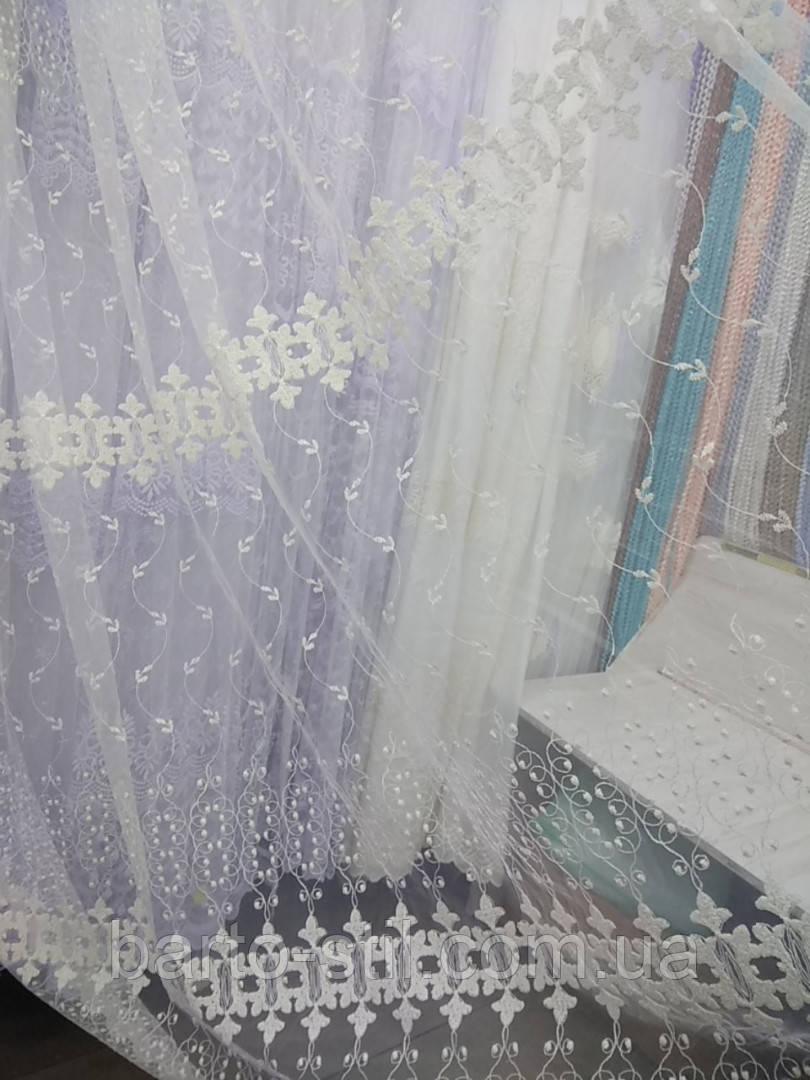 Тюль молочного цвета с плотной вышивкой на фатиновой основе. Оптом и на метраж .Высота 2.8 м.