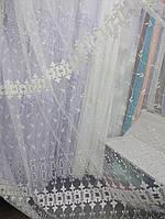 Тюль молочного цвета с плотной вышивкой на фатиновой основе. Оптом и на метраж .Высота 2.8 м. , фото 1