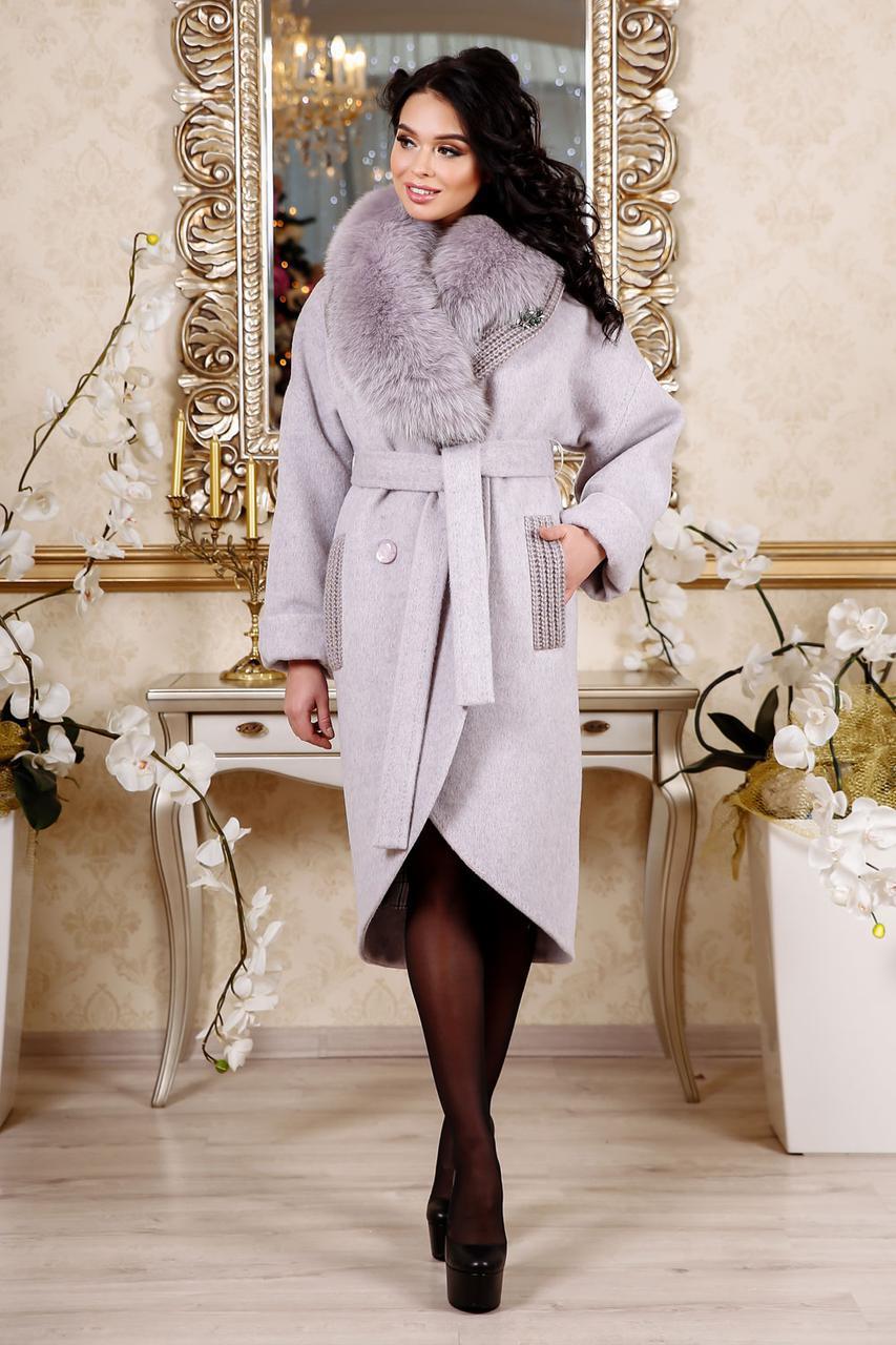 Зимове пальто з песцем бузкового відтінку  продажа 5ad24b90d0db9