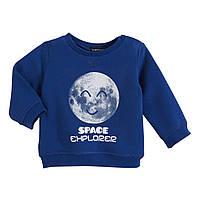 Свитшот (Франция) синего цвета теплый с начесом принт «Space Explorer» для мальчика 62 см, 68 см, 86 см, 92 см