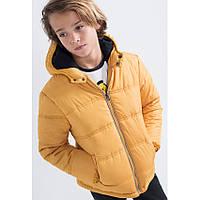 Демисезонная куртка (Франция) желтого цвета синтепон еврозима подкладка флис для мальчика 8, 10, 12 лет