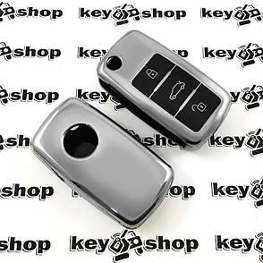 Чохол (сріблястий, поліуретановий) для выкидного ключа Volkswagen (Фольксваген), кнопки з захистом, фото 2
