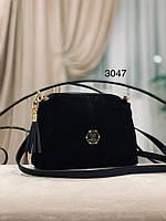 Черная замшевая сумка через плечо 1433 (ЮЛ), фото 1