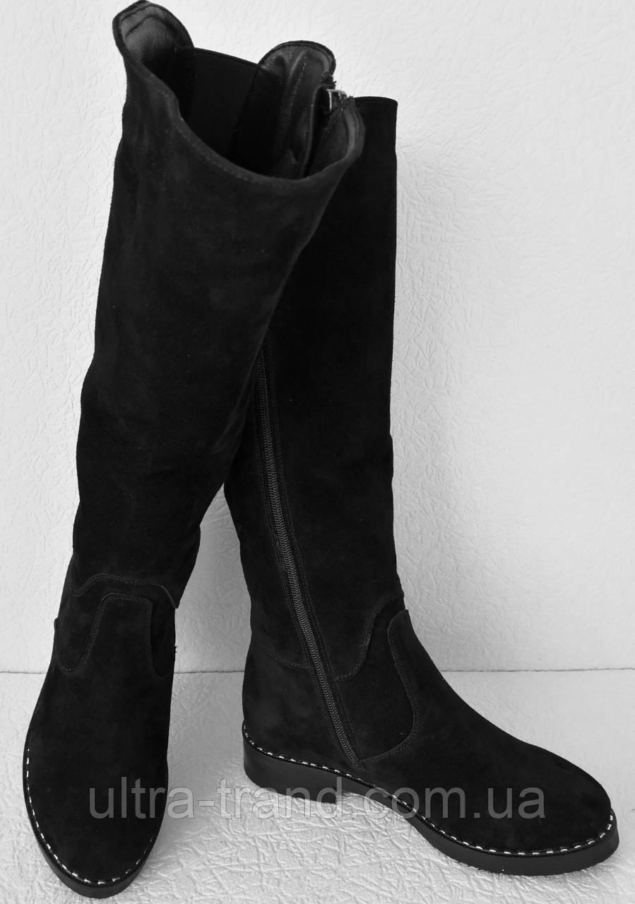 Женские зимние сапоги Limoda по колено со змейкой еврозима черные замша