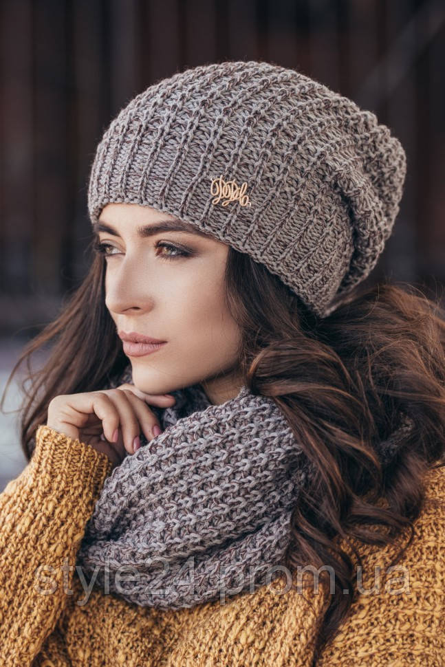 Жіноча вязана шапка та хомут-снуд 639e6afaed7b0