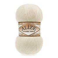 Пряжа Alize Angora gold 01 кремовый кремовий (Ализе Алізе Ангора Голд) пряжа с мохером