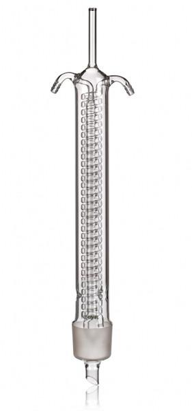 Холодильник (Димрота) спиральный обратный с внутренним охлаждением со шлифами 300 мм, стекло