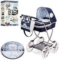 Коляска 80225 для куклы, классика, сумка, корзина, 80-45-90 см.