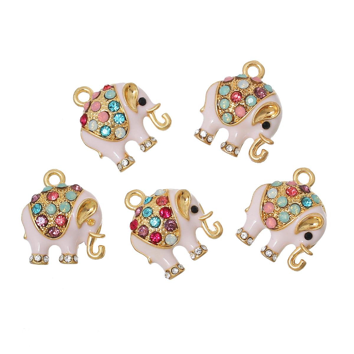 Подвеска, Слон, Позолоченный Разноцветный, Стразы и Эмаль светло-розовая, 18 мм x 15 мм