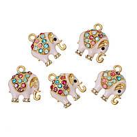Подвеска, Слон, Позолоченный Разноцветный, Стразы и Эмаль светло-розовая, 18 мм x 15 мм, фото 1