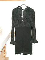 Черное выходное платье из дорогой кружевной ткани Sagaje, фото 1