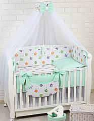 Комплект постельного белья Asik Разноцветные совушки и горошек на мяте 8 предметов (8-302)