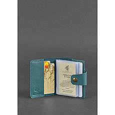 Женский кожаный кард-кейс 7.1 (Книжечка) зеленый, фото 2