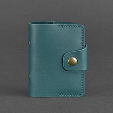 Женский кожаный кард-кейс 7.1 (Книжечка) зеленый, фото 3