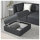 Пуф с ящиком IKEA VALLENTUNA Hillared темно-серый 091.498.84, фото 4