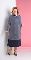 Платье Novella Sharm-3111 белорусский трикотаж, серый+темно-синий, 58