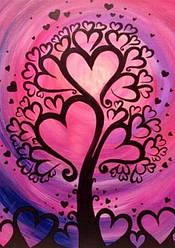 Алмазная техника Алмазная мозаика Дерево любви (DM-244) 20 х 30 см (Без подрамника)