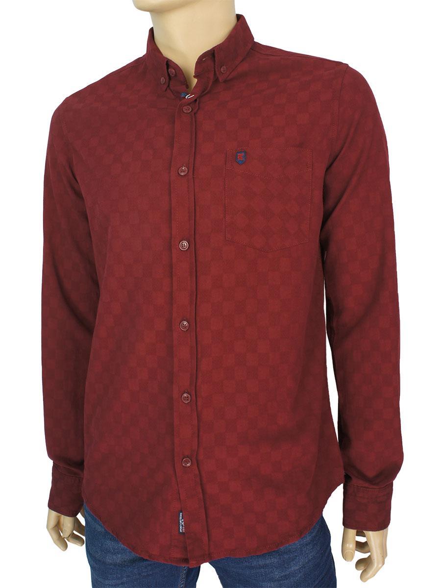 Бордовая хлопковая рубашка для мужчин Cordial CO 2045 K98-1219 bordo