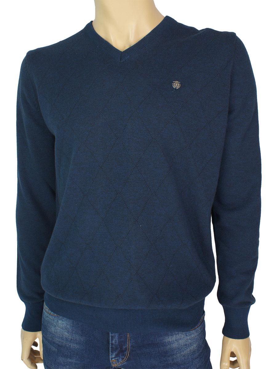 Однотонный мужской свитер Better Life 1017 H blue синего цвета